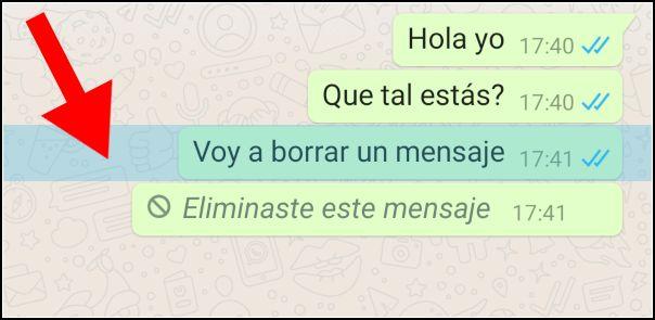 mensaje de WhatsApp seleccionado