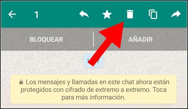 seleccionar papelera de WhatsApp