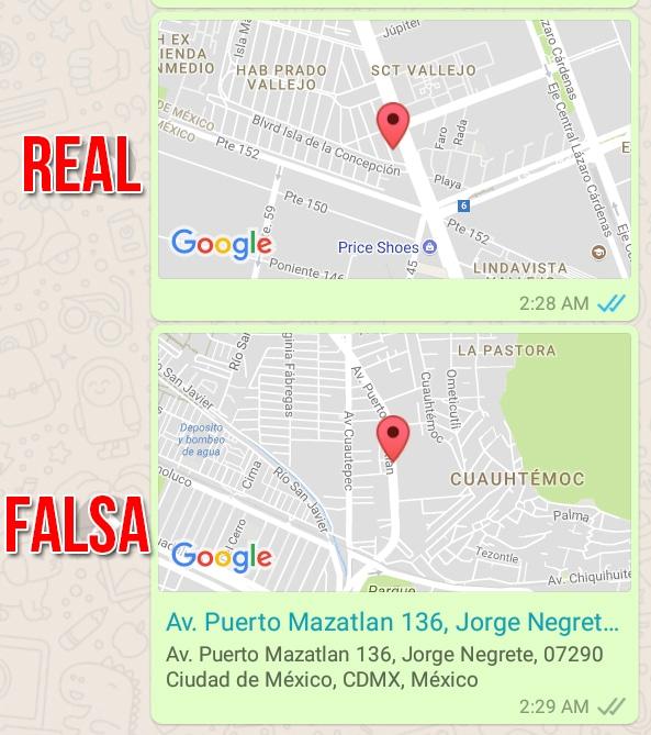Cómo saber si una ubicación de WhatsApp es falsa