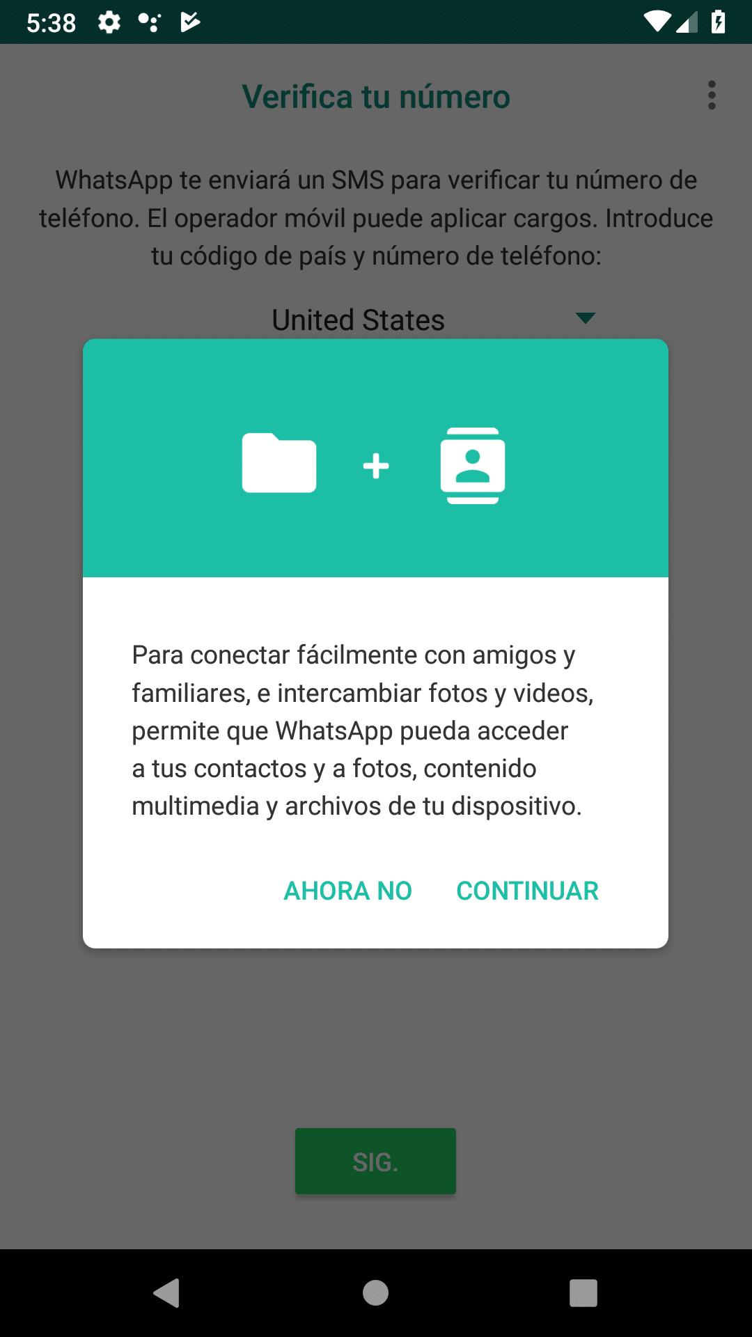 WhatsApp necesita permisos
