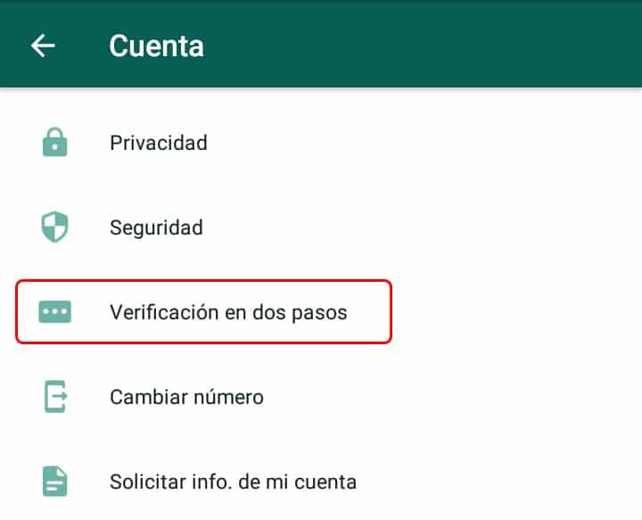 Activar verificación en dos pasos de WhatsApp
