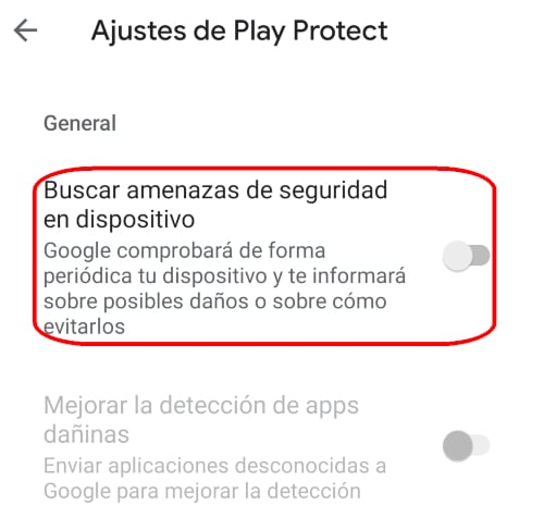 Ajustes de Play Protect