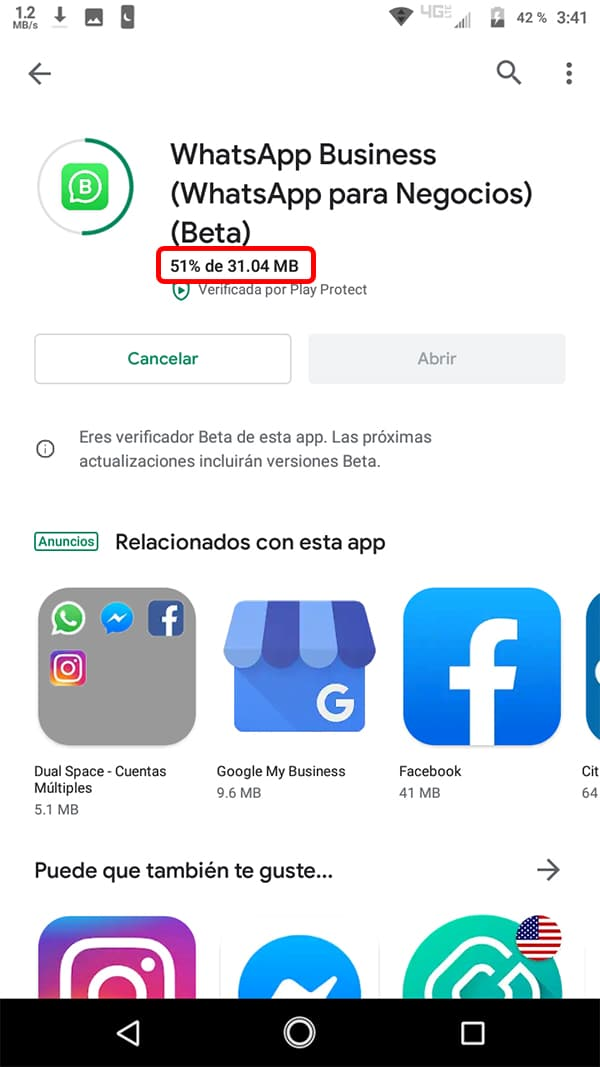 Progreso de la descarga
