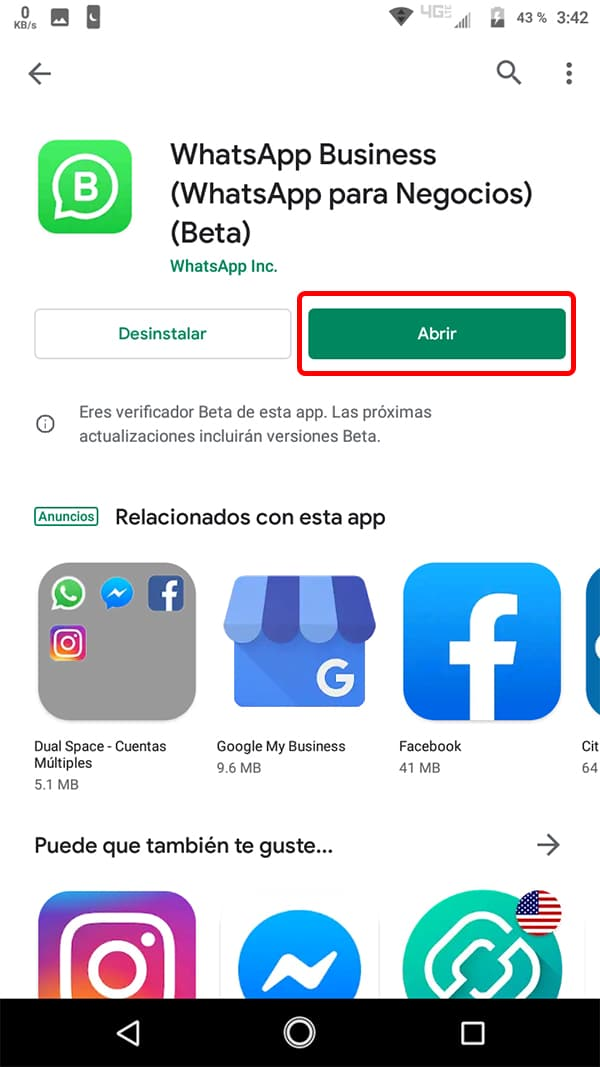 WhatsApp Business instalada