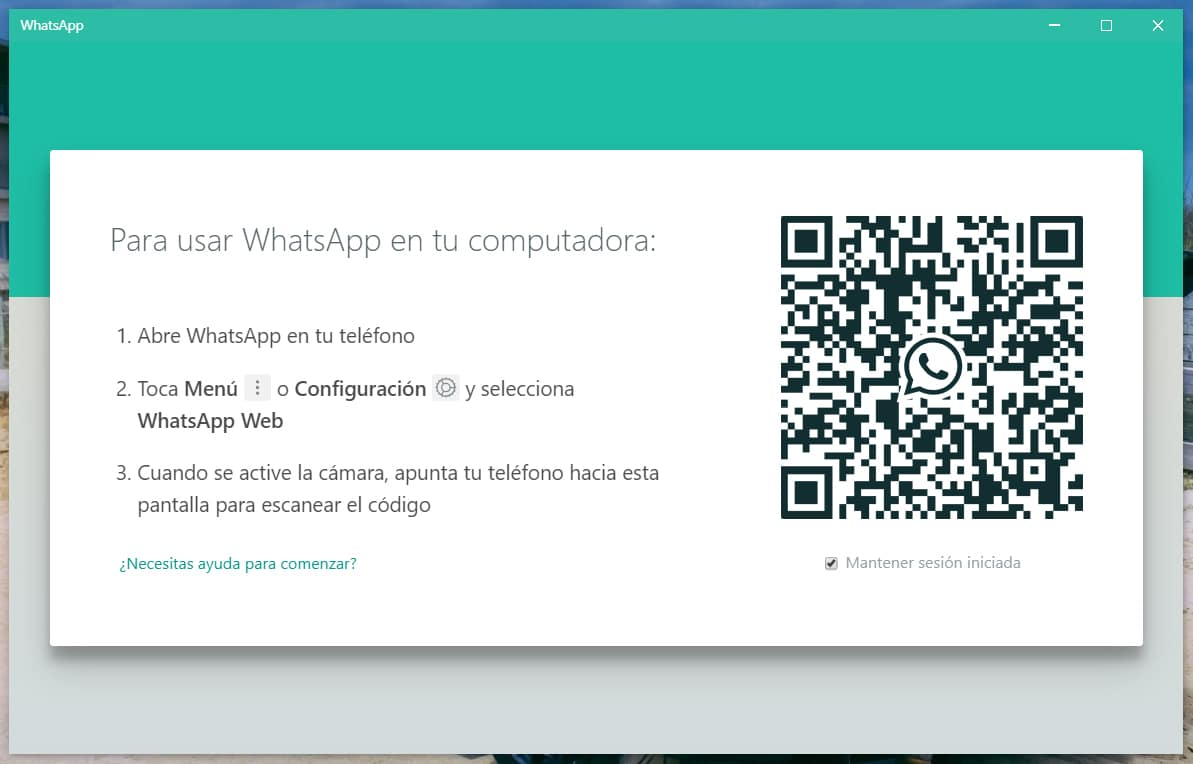 Inicio de WhatsApp PC