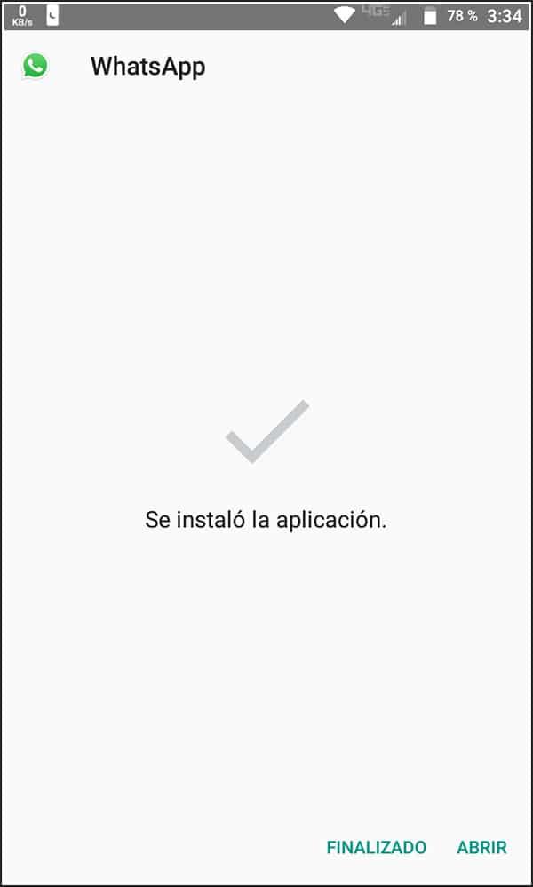 WhatsApp instalado desde el APK