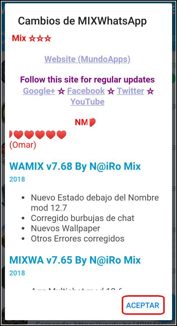 cambios WhatsApp Mix