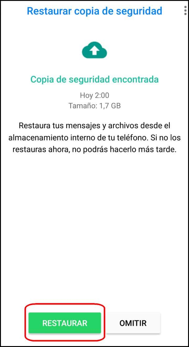 Restaurar copia de seguridad
