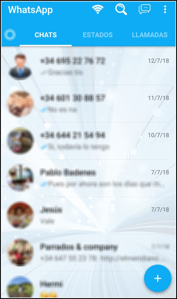 Pantalla principal de WhatsApp Mix