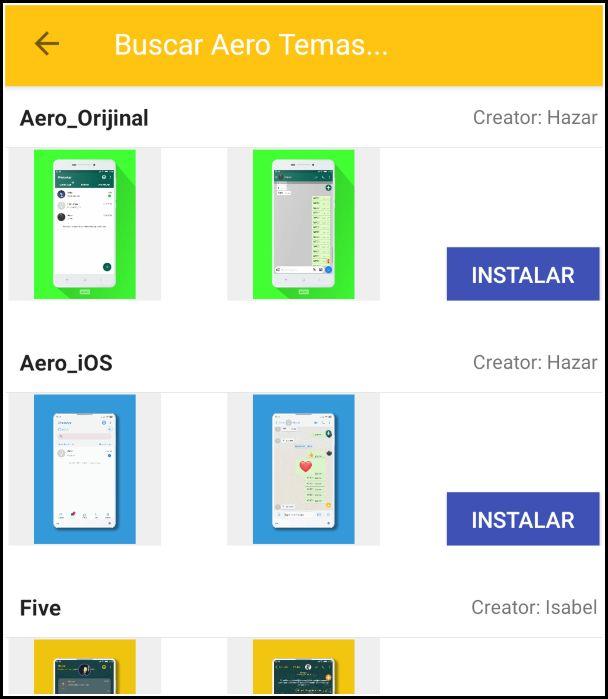 temas para WhatsApp Aero